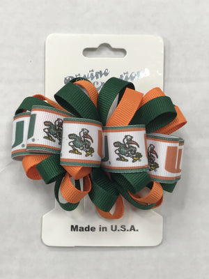 Miami Hurricanes Logo Loop Hair Bow Clip