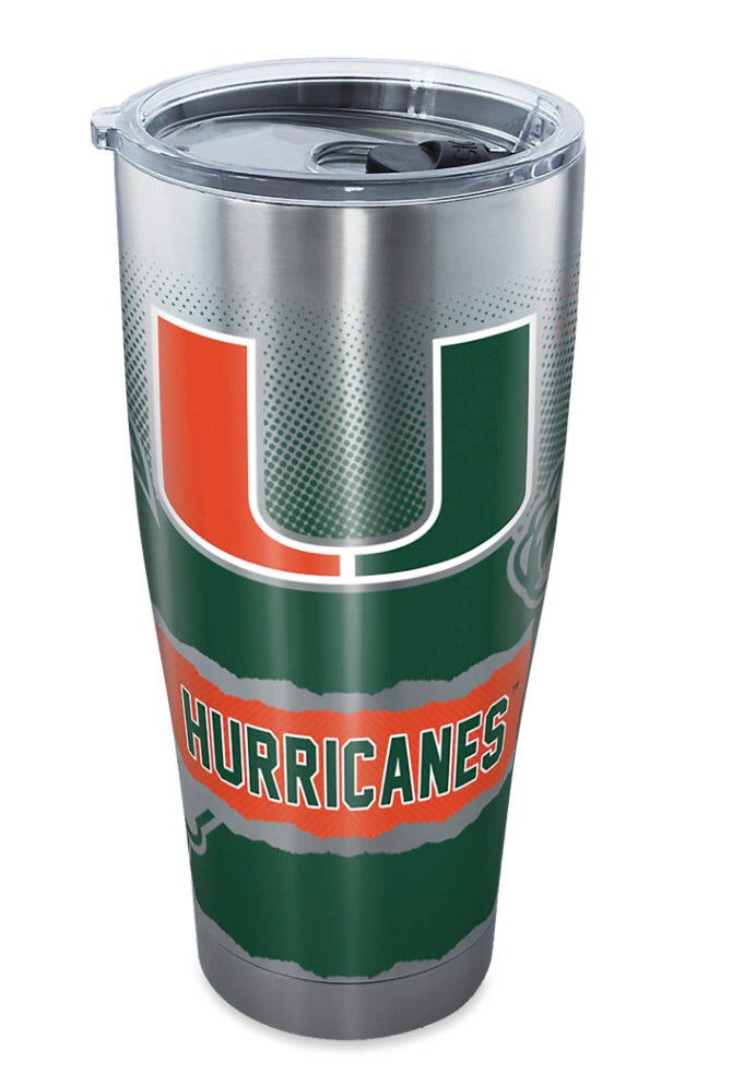 Miami Hurricanes Tervis 20 Ounce Stainless Steel Tumbler With Lid
