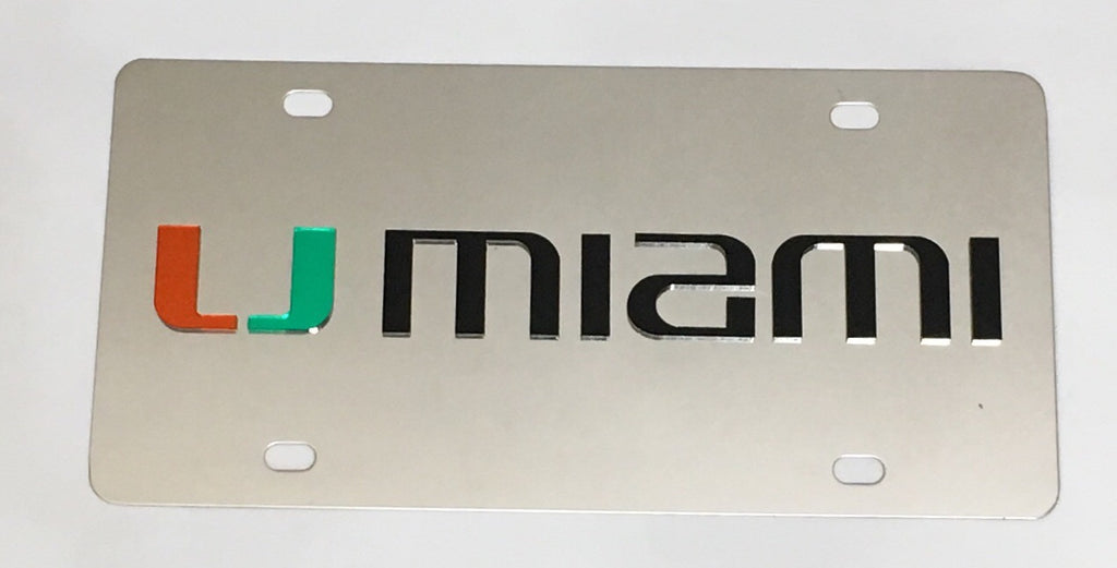 Miami Hurricanes Mirror License Plate- UMiami