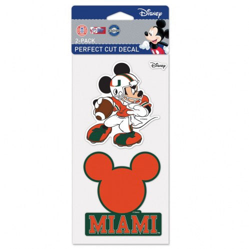 Miami Hurricanes Mickey Perfect Cut Decal  2-pack