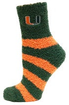 Miami Hurricanes Striped Fuzzy Socks