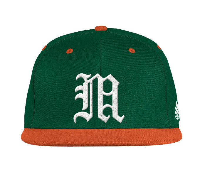 Miami Hurricanes adidas 2021 On Field Baseball Fitted Cap - Green