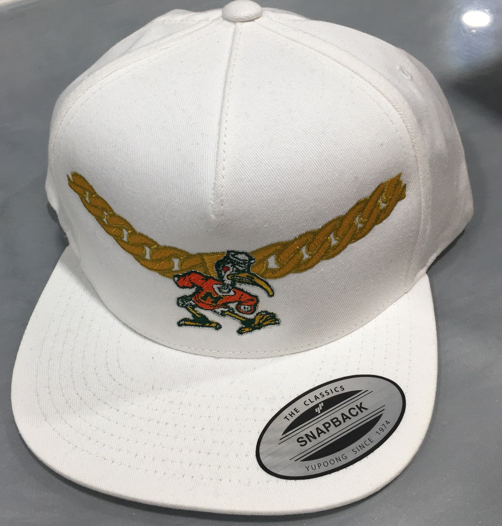 Miami Hurricanes Turnover Chain Adjustable Tow Snapback Hat - White