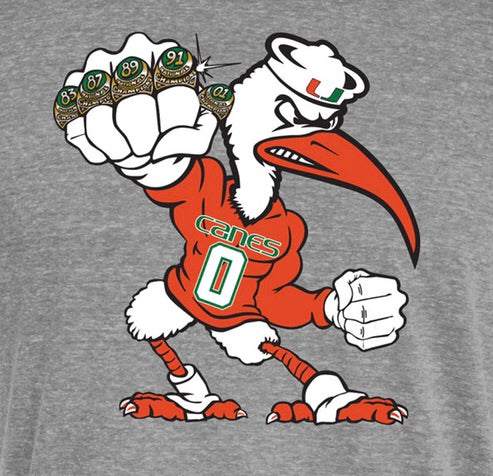 Miami Hurricanes Men's 5 Rings POW T-Shirt - Heather Grey