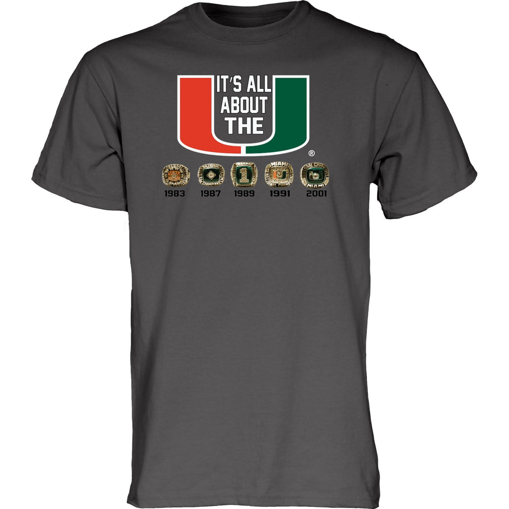 Miami Hurricanes 5 Rings All About The U T-Shirt - Charcoal Grey