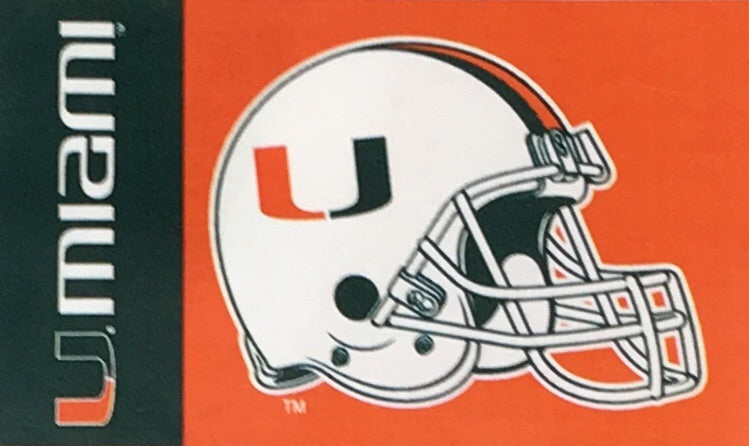 Miami Hurricanes Silk Screened 3x5 Flag w/Grommets - Helmet