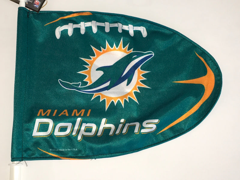 Miami Dolphins Football Shaped Car Flag