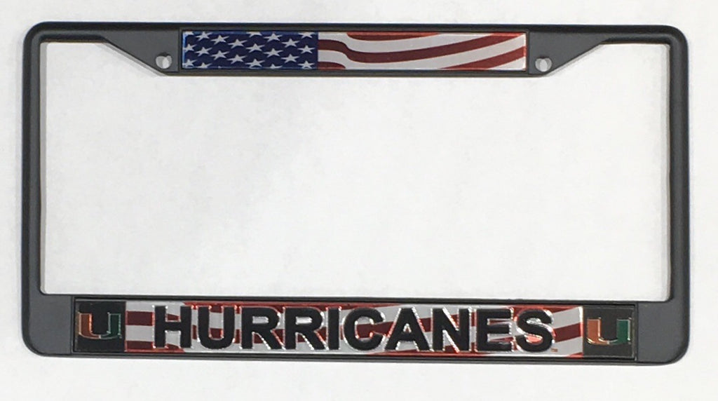 Miami Hurricanes RWB Metal License Plate Frame