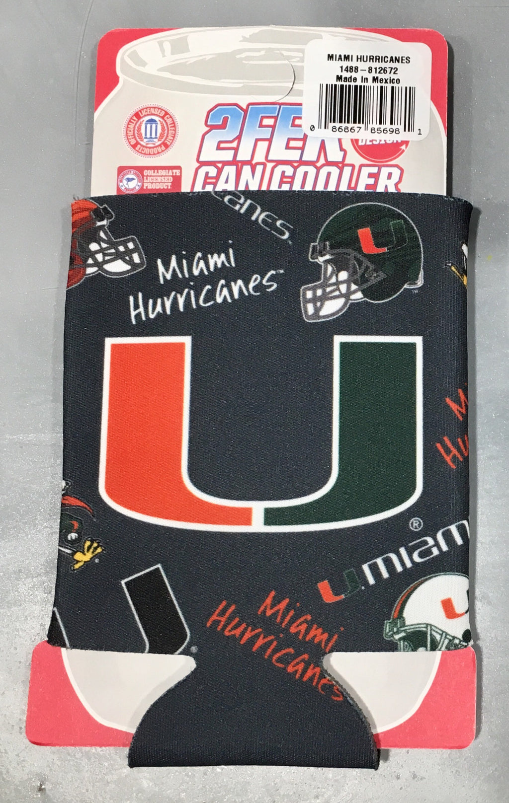Miami Hurricanes Flashback Design Can Hugger Coozie - Dark Grey