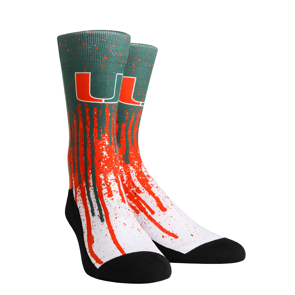 Miami Hurricanes Rock'em Pride Drip Crew Socks