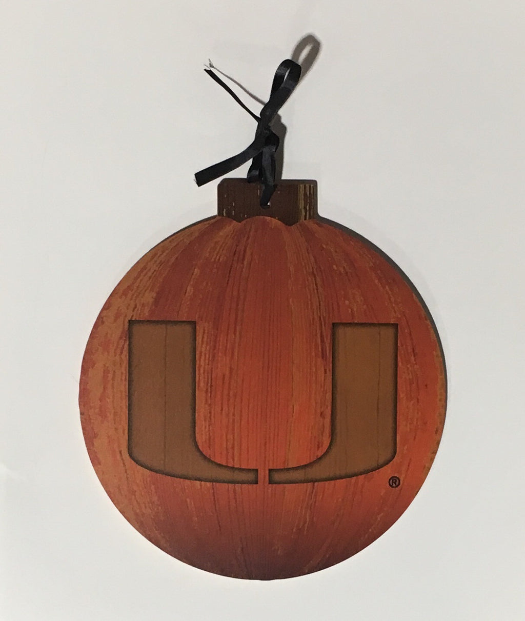 Miami Hurricanes Halloween Pumpkin Wooden Sign - 12""