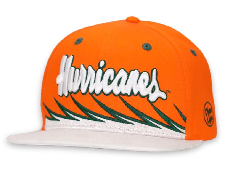 Miami Hurricanes Dyme Lyfe Wave Flat Brim Snapback Hat - Orange/White