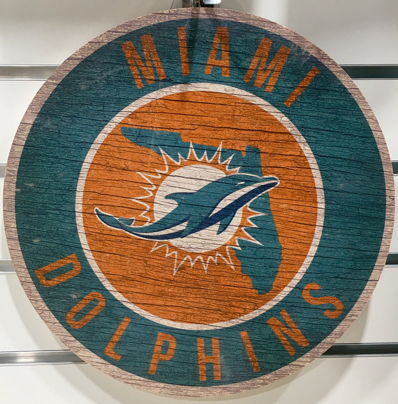 "Miami Dolphins 12""  Round Wooden Sign"