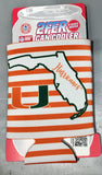 Miami Hurricanes 2fer State Design Can Hugger Coozie -Orange Striped