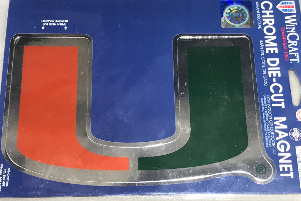 "Miami Hurricanes 6""x9"" Chrome Die-Cut Magnet"