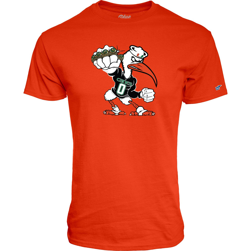 Miami Hurricanes Men's 5 Rings POW T-Shirt - Orange A