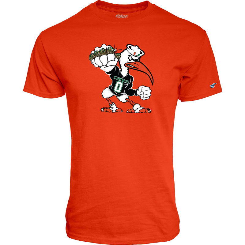 Miami Hurricanes Men's 5 Rings POW T-Shirt - Orange