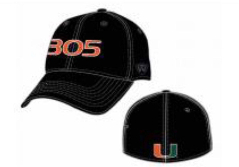 Miami Hurricanes Top of the World  Flex Fit  305 Hat - Black