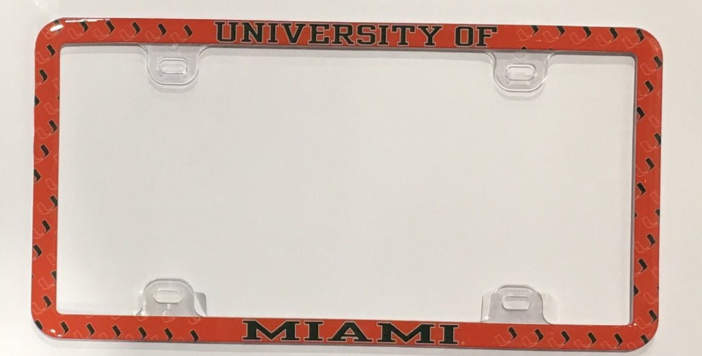 Miami Hurricanes Domed Thin Rim License Plate Frame