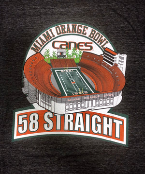 Miami Hurricanes Men's Orange Bowl 58 Straight Tri-Blend T-Shirt - Heather Black