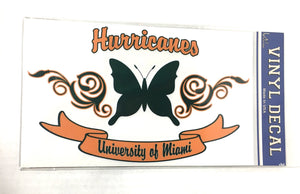 Miami Hurricanes Butterfly Vinyl Decal 6 x10