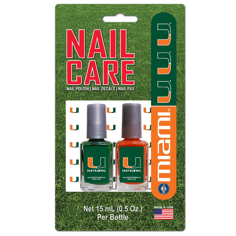 Miami Hurricanes Nail Care Set - Nail Polish, Nail Decals, Nail File