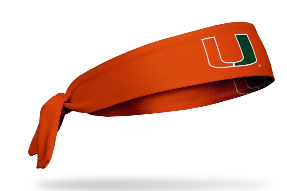 Miami Hurricanes Tie Headband U Logo - Orange