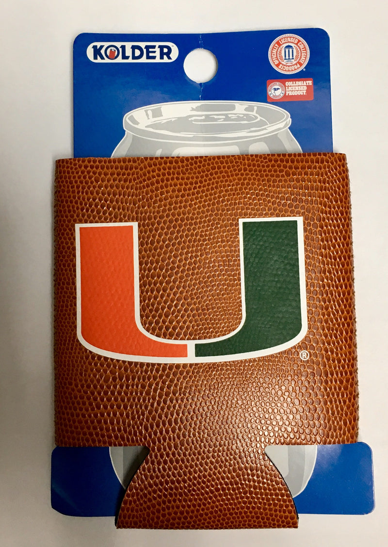 Miami Hurricanes Pigskin Can Hugger Coozie