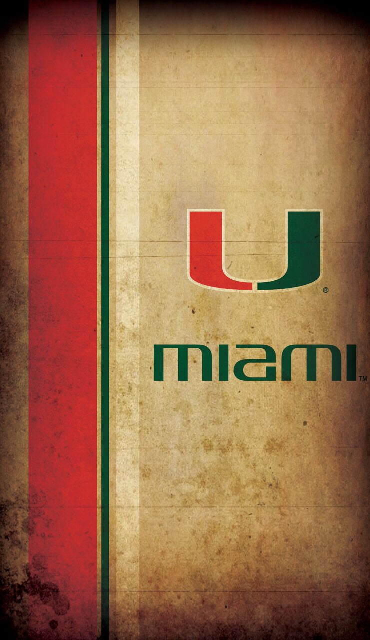 "Miami Hurricanes Parchment Wood Sign - 11""x19"""