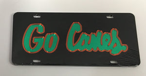 Miami Hurricanes Go Canes Front License Plate Tag - Black