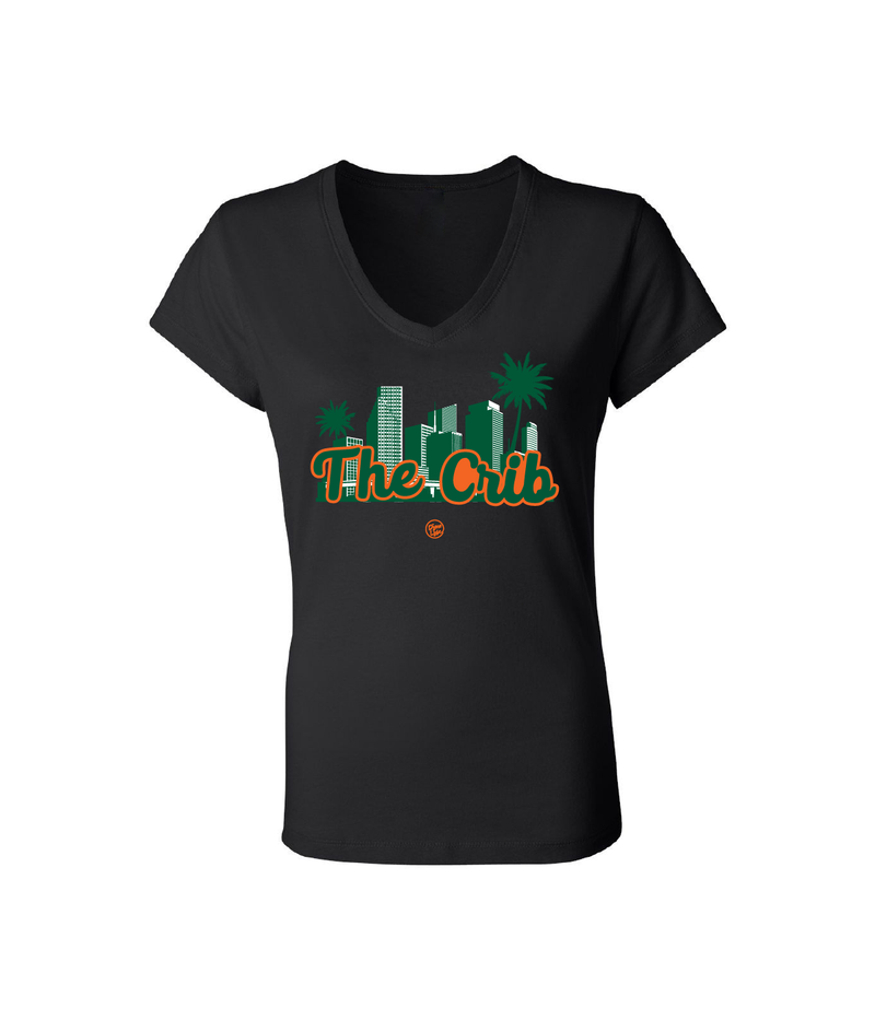 Miami Hurricanes Dyme Lyfe The Crib Women's V-Neck T-Shirt - Black