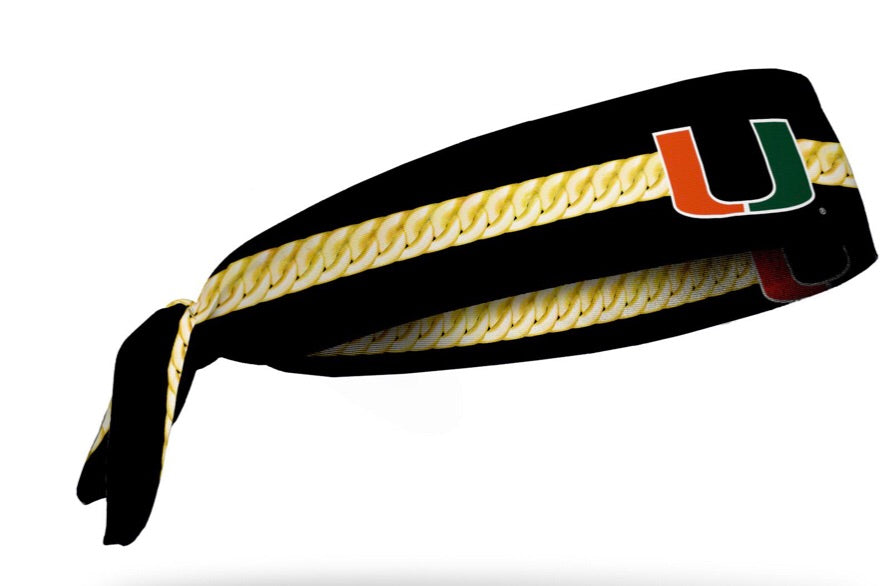 Miami Hurricanes Tie Headband Turnover Chain - Black