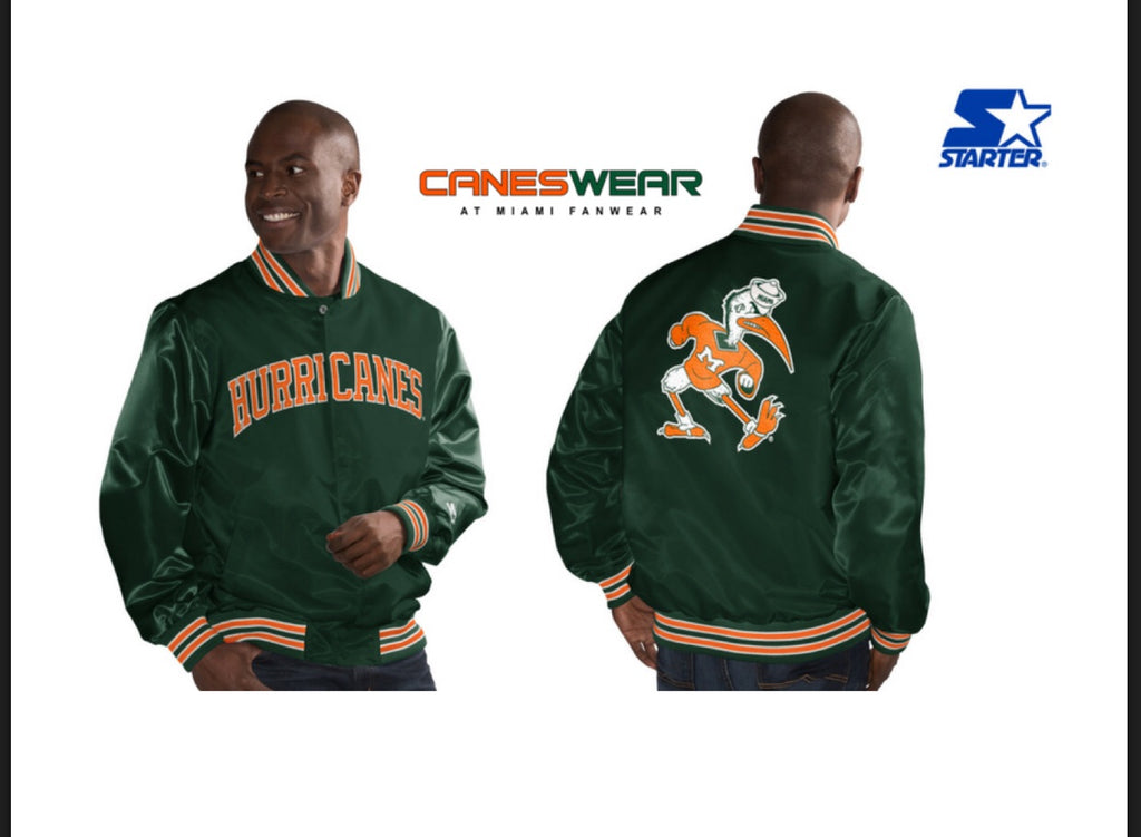 Miami Hurricanes Youth Classic Starter Jacket- Vintage Green