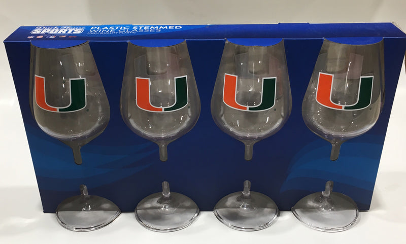 Miami Hurricanes Plastic Stem Wine Glasses Set - 16oz - 4 pk.
