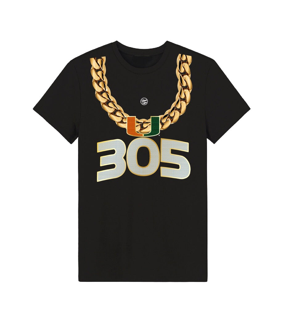Miami Hurricanes Dyme lyfe 305 Turnover Chain T-Shirt - Black