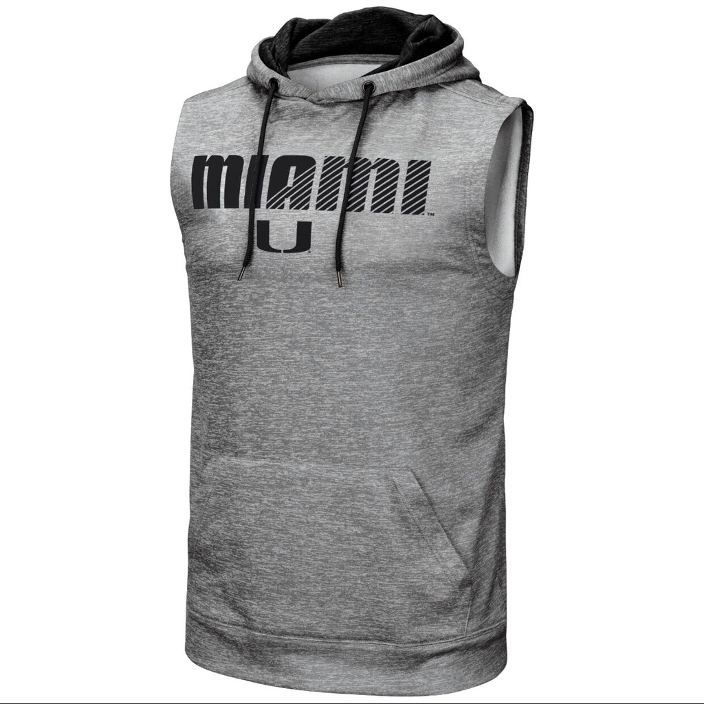 Miami Hurricanes Colosseum Miami U Sleeveless Hoodie - Heather Grey
