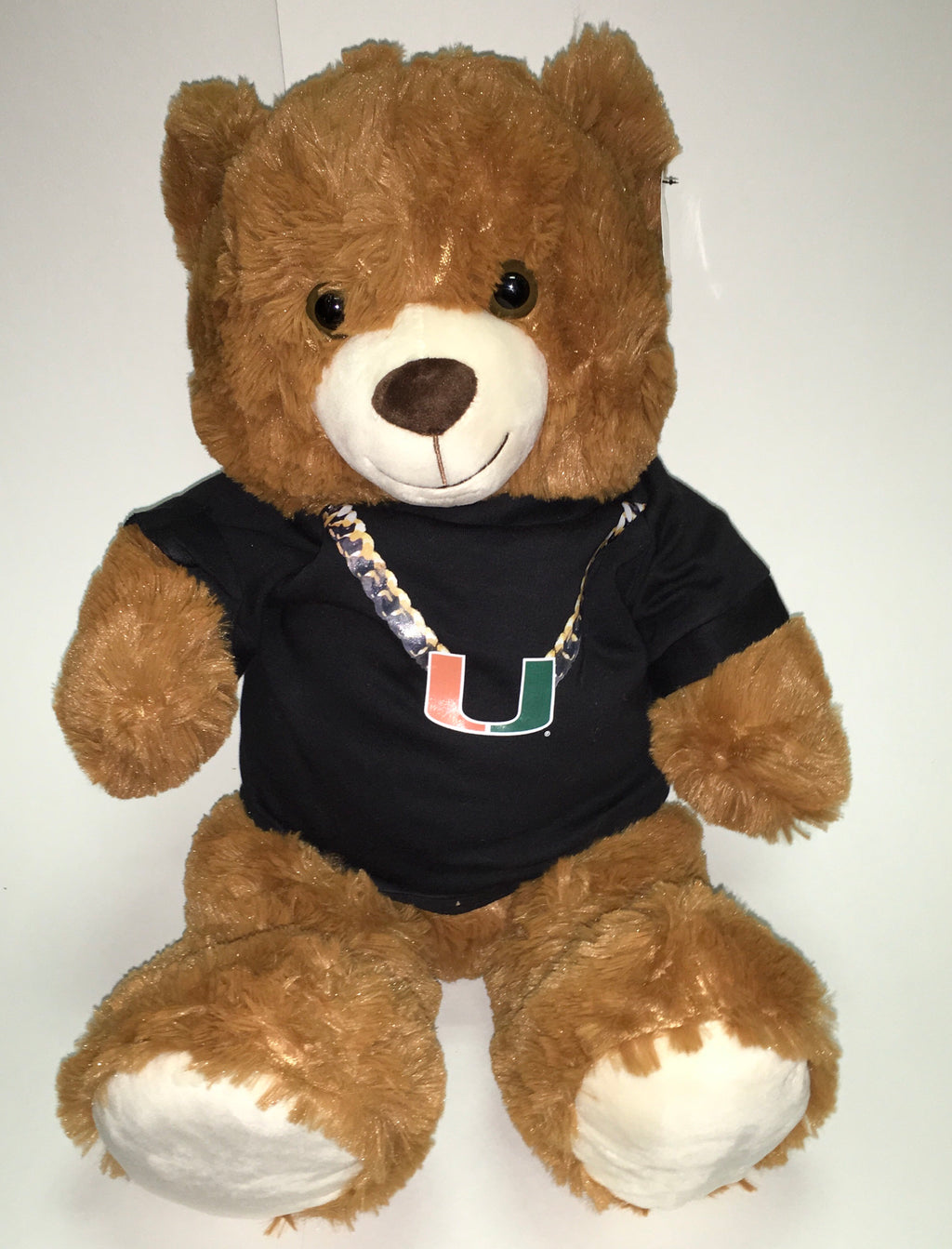"Miami Hurricanes Mocha 24"" Plush Turnover Chain Bear - Black"
