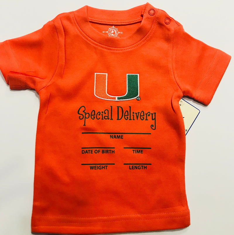 Miami Hurricanes Baby Special Delivery T-Shirt - Orange