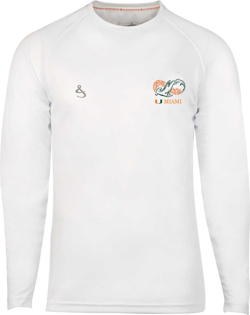 Miami Hurricanes Shark Research Seamount L/S Fishing Shirt - White