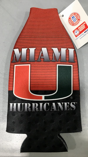 Miami Hurricanes 2fer Steel Design Zippered Bottle Coozie