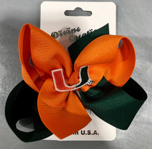 Miami Hurricanes Classic Color Block Queen Hair Bow