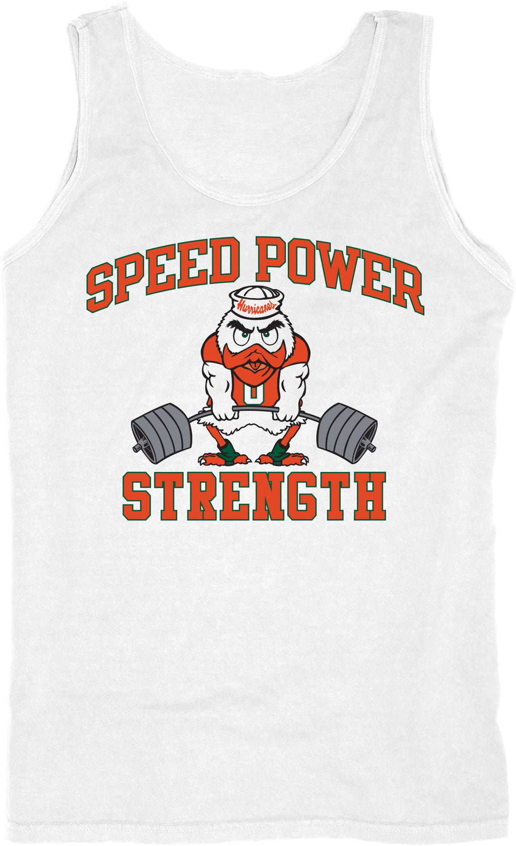 Miami Hurricanes Speed Power Strength Tank Top - Whiite