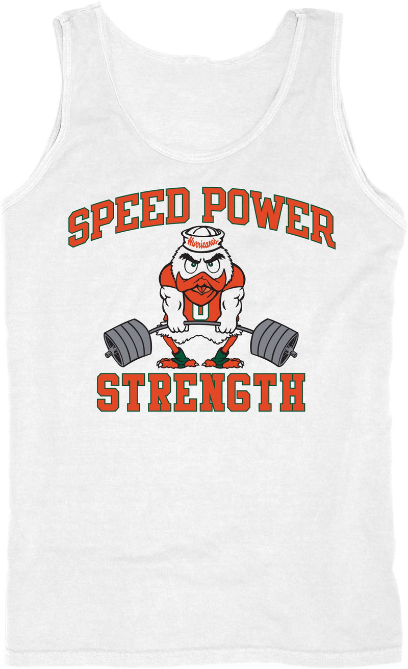 Miami Hurricanes Speed Power Strength Tank Top - White