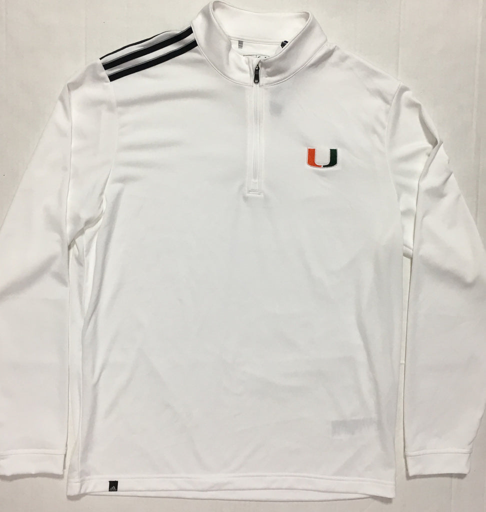 Miami Hurricanes adidas 1/4 Zip Golf 3 Stripe L/S Shirt - White