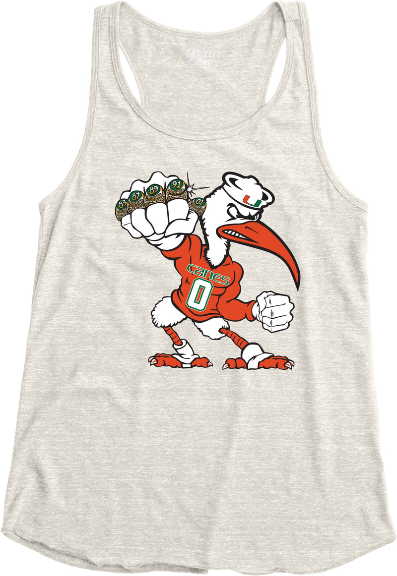 Miami Hurricanes Women's 5 Rings POW Racerback Tank Top - Oatmeal