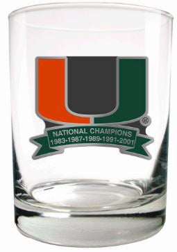 Miami Hurricanes 5 x Champions Rock Glass