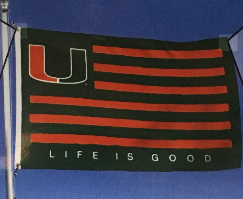 Miami Hurricanes Life is Good U American Flag- 3' x 5'