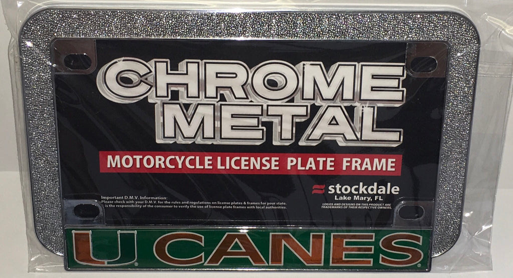 Miami Hurricanes Motorcycle License Plate Tag Frame