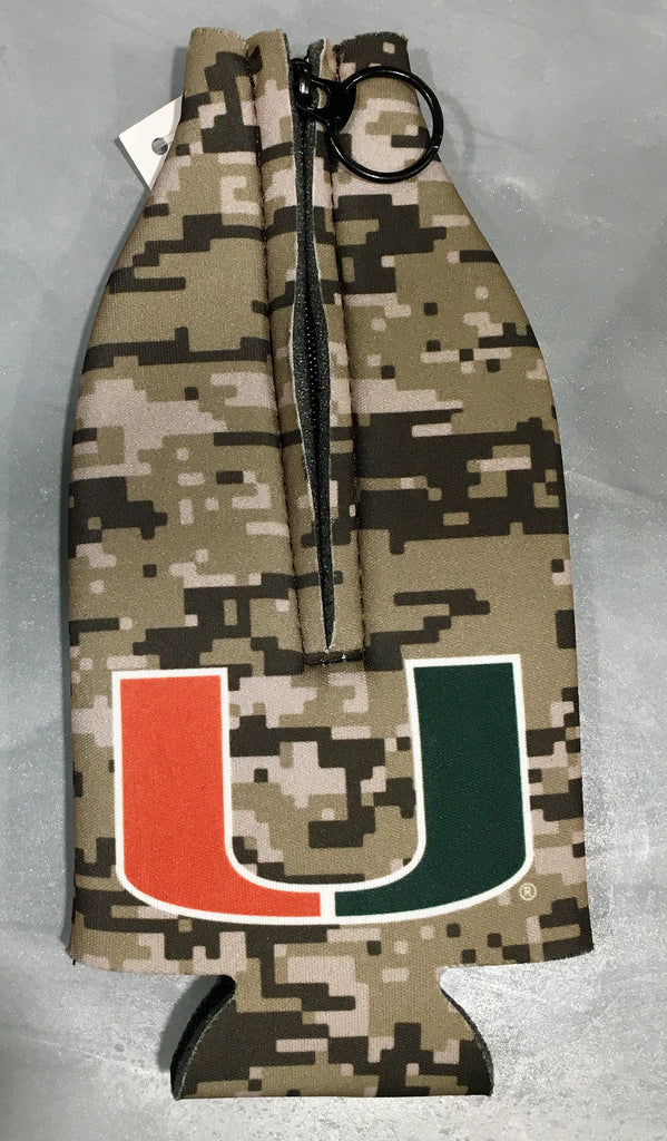Miami Hurricanes 2fer Salute Digi Camo Zippered Bottle Coozie