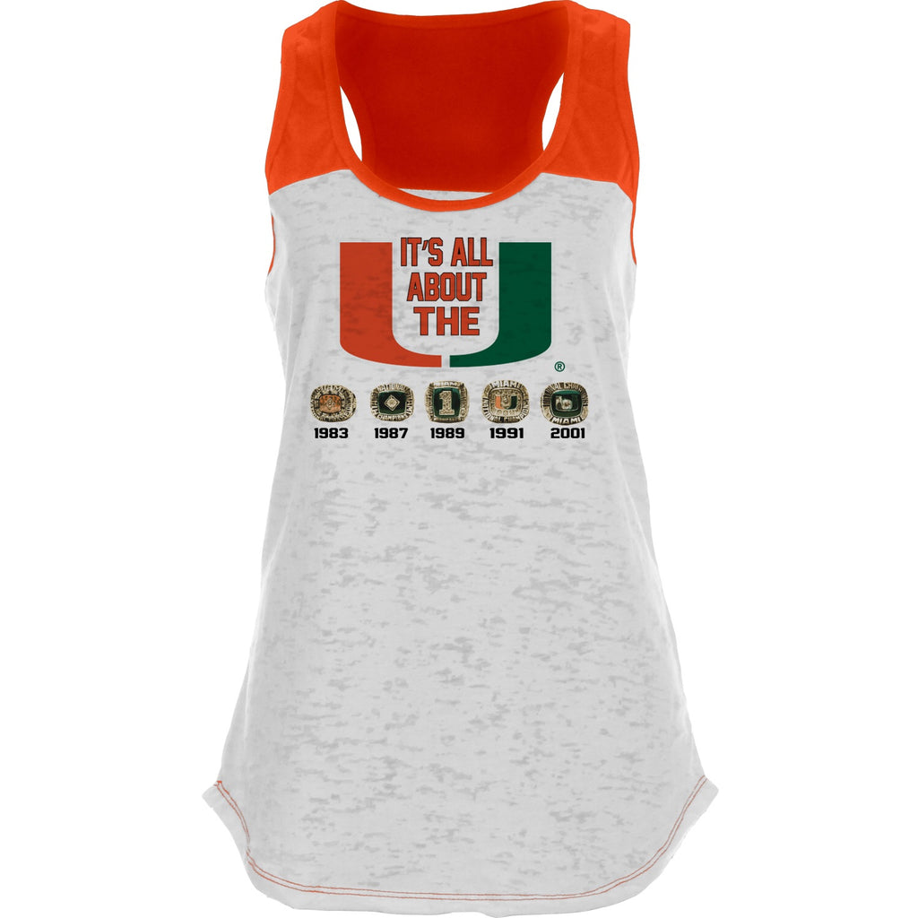 Miami Hurricanes Women's 5 Rings Racerback Tank Top - White/Orange